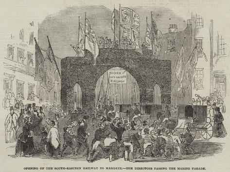 Opening of the South-Eastern Railway to Margate, the Directors Passing the Marine Parade Giclée-Druck