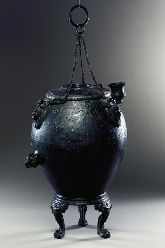 Ovoid-Shaped Heating Apparatus in Bronze on Feline-Pawed Three-Footed Stand Giclée-Druck