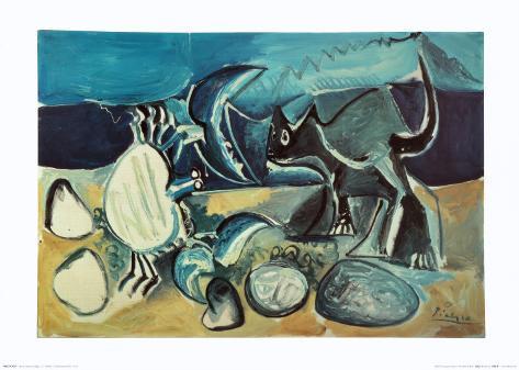Cat and Crab on the Beach, 1965 Kunstdruck