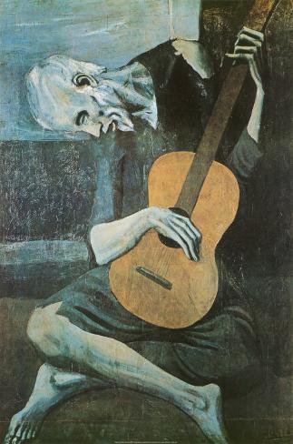 De oude gitarist, c. 1903 Poster