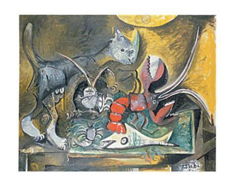 Still Life with Cat and Lobster, 1962 Kunstdruck