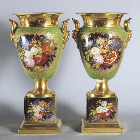 Pair of Green and Gold Vases with Floral Decorations Giclée-Druck