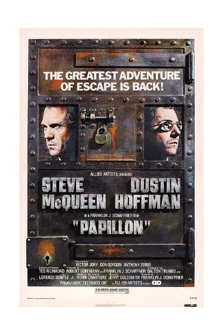 Papillon, Steve Mcqueen, Dustin Hoffman, 1973 Kunstdruck