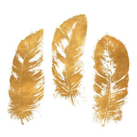 Gold Feather Square (gold foil) Kunstdruck