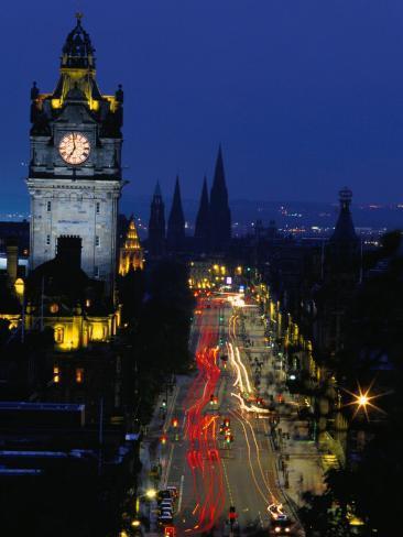 Princes Street at Night, Edinburgh, Scotland Fotografie-Druck