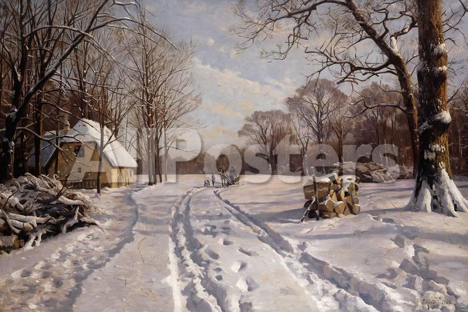 A Sleigh Ride Through a Winter Landscape, 1915 Giclée-Druck von ...