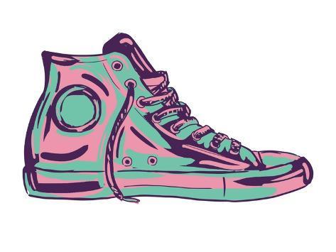 Retro Sneakers Hand Drawn and Hand Painted Kunstdruck