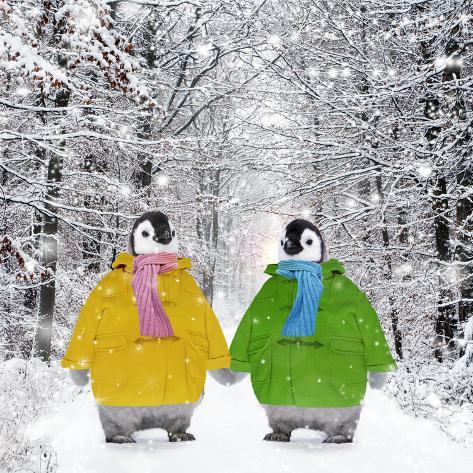 Penguins in Duffle Coats and Scarves Holding Hands Fotografie-Druck