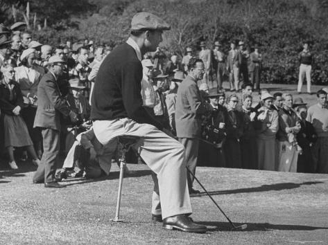 Golfer Ben Hogan, Resting on Portable Folding Seat During Los Angeles Open Golf Tournament Premium-Fotodruck