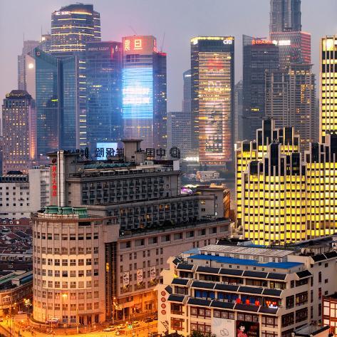 China 10MKm2 Collection - The Bund at Night - Shanghai Fotografie-Druck