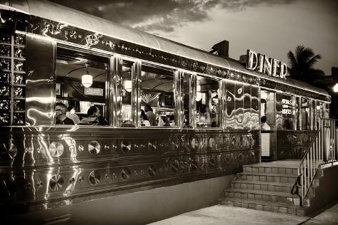 Miami south beach and art deco diner restaurant florida usa