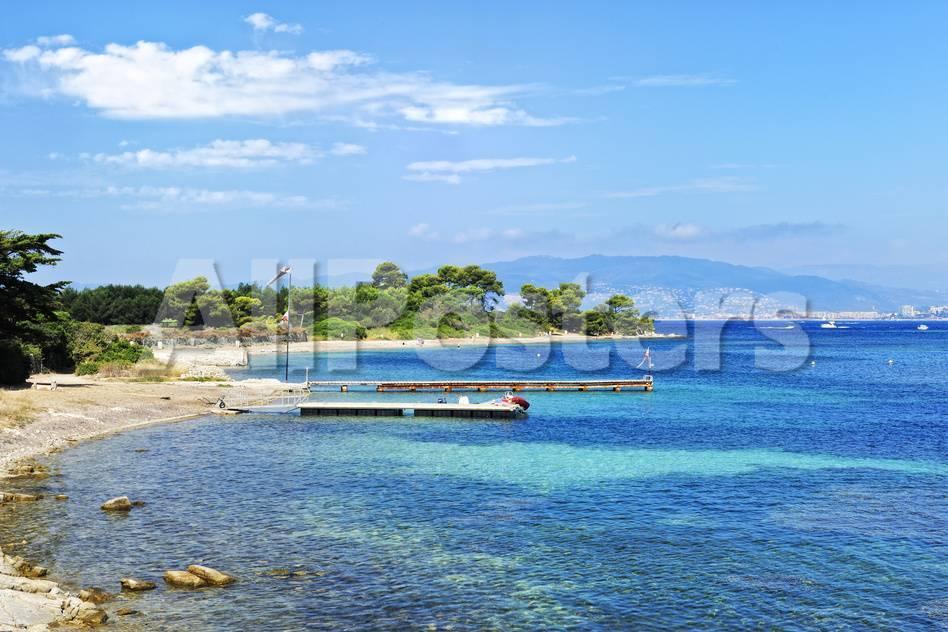 Strand der Ile Sainte Marguerite, Bucht von Cannes Fotografie-Druck ...