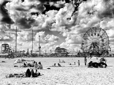 Vintage Beach Wonder Wheel Black And White Photography Coney