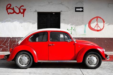 Collection Vw Beetle Car And Red Graffiti Fotoprint