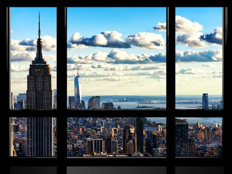 Window View Empire State Building And The One World Trade Center