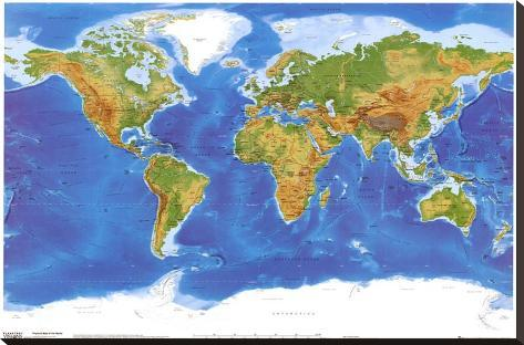 Physische Weltkarte   Ansicht Aus Dem Weltraum. Leinwand