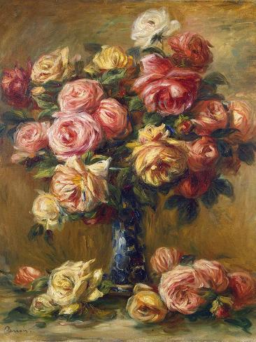 Roses In A Vase C1910 Gicléedruk Van Pierre Auguste Renoir Bij