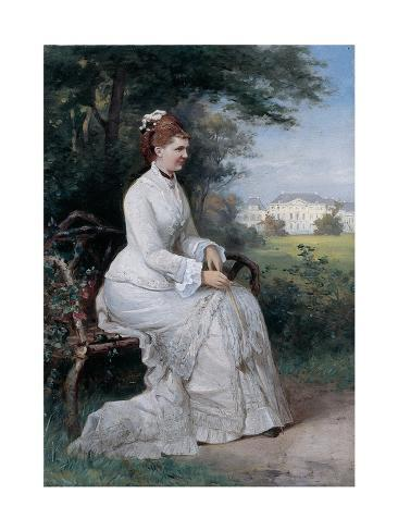 Portrait of Princess Emma Von Waldeck-Pyrmont Seated on a Bench in the Park of the Palace Het Loo Giclée-Druck