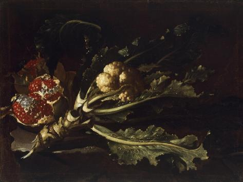 Cauliflower and Pomegranates Giclée-Druck