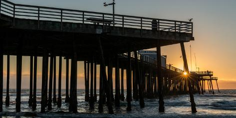 Pismo Beach pier at sunset, San Luis Obispo County, California, USA Fotografie-Druck