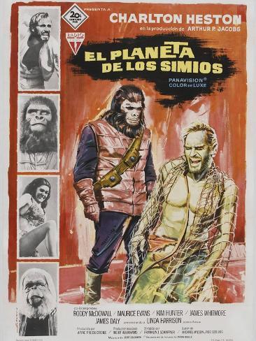 Planet of the Apes, Spanish Movie Poster, 1968 Kunstdruck