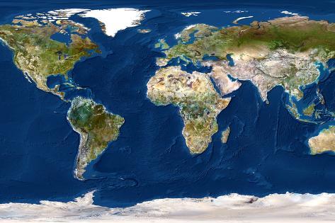 Whole Earth Map Fotografie-Druck von PLANETOBSERVER bei AllPosters.de