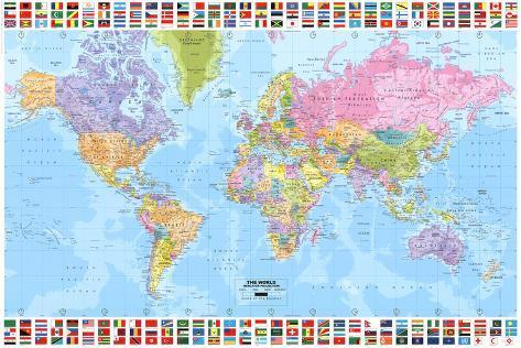 Politieke wereldkaart met vlaggen posters bij allposters politieke wereldkaart met vlaggen poster thecheapjerseys Images