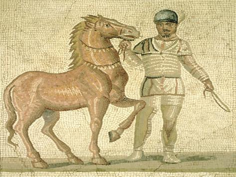 Polychrome Mosaic Depicting Charioteer from One of Four Factions of Circus, Roman Civilization Giclée-Druck