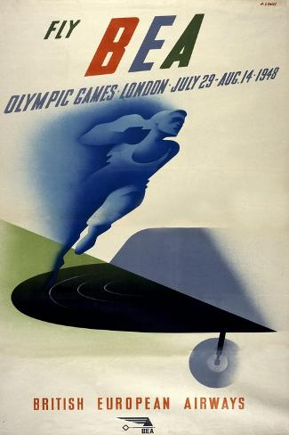 Poster for British European Airways (BEA) Featuring the 1948 London Olympic Games Giclée-Druck