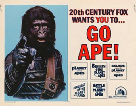 Poster Planet of the Apes films, met tekst: Go Ape! Masterprint