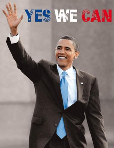 President barack obama yes we can waving art poster for Bett yes we can