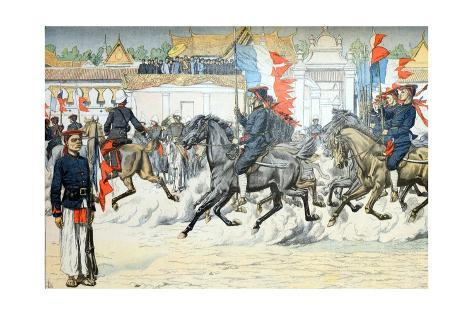 Procession of Indigenous Cavalry in French Indo-China (Vietnam) Giclée-Druck