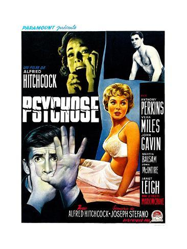Psycho, (aka Psychose), Belgian Poster Art, 1960 Giclée-Druck