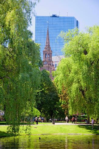 Public Garden founded 1837 and Boston Common in Summer, Boston, Ma., New England, USA Fotografie-Druck