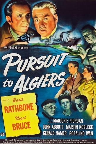 Pursuit to Algiers, Basil Rathbone, Nigel Bruce, 1945 Kunstdruck