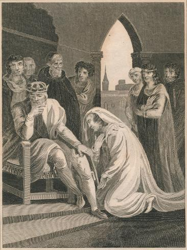 Queen of Richard II, Interceeding for the Life of Simon Burley, 1388 Giclée-Druck