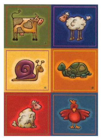 Six Petits Animals Kunstdruck