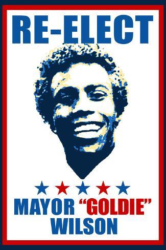Re-Elect Mayor Goldie Wilson Plastic Sign Plastikschild