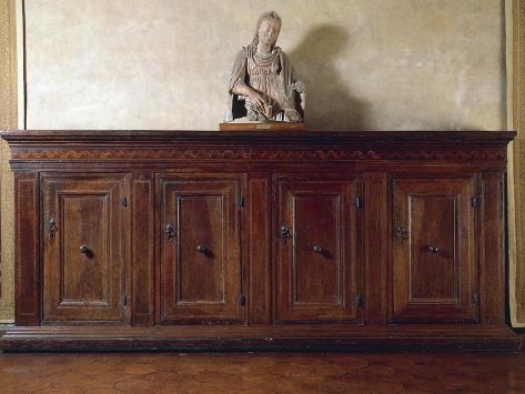 Renaissance Walnut Tuscan Sideboard, Carthusian Inlay, Italy Giclée-Druck