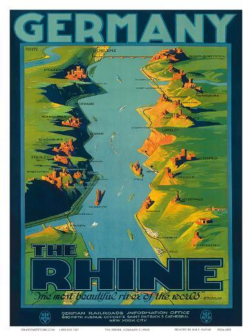 The Rhine, Germany c.1950s Kunstdruck