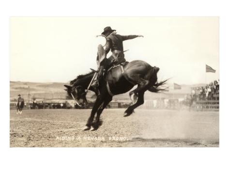 Riding a Nevada Bronco Kunstdruck
