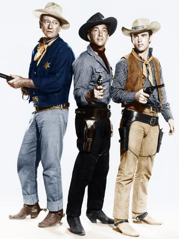 RIO BRAVO, from left: John Wayne, Dean Martin, Ricky Nelson, 1959 Foto