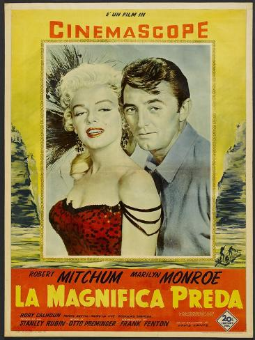 River of No Return, Italian Movie Poster, 1954 Kunstdruck