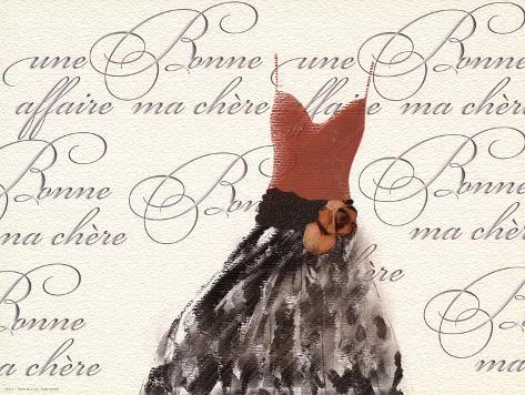 Robe de Soiree sur le Blanc (med) Kunstdruck