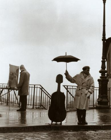 Musiker im Regen Kunstdruck