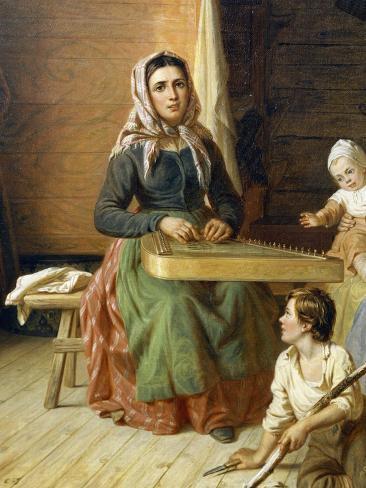 Woman Playing Kantele, Detail from Kreeta Haapasalo Playing Kantele in Peasant Cottage, 1868 Giclée-Druck