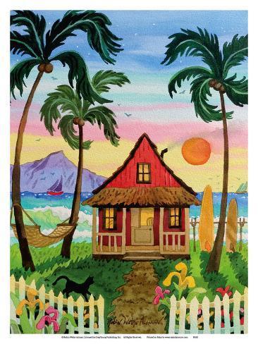 Hati S Red Hut Tropical Beach Hawaii Hawaiian Islands Sunset Kunstdruk