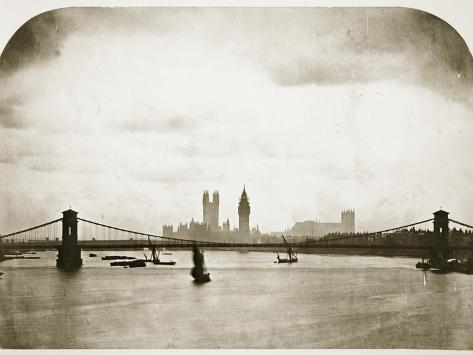 Houses of Parliament under Construction, London, C.1858 (B/W Photo) Giclée-Druck