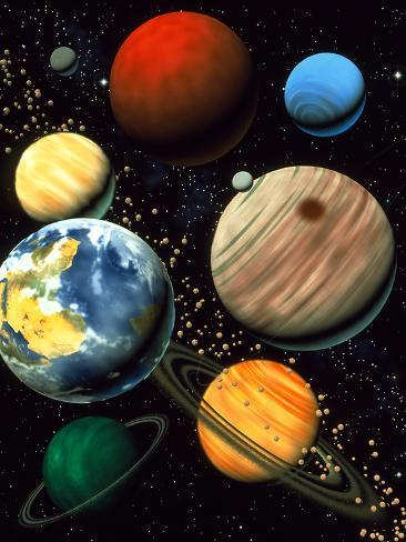 Computer Artwork Showing Planets of Solar System Fotografie-Druck