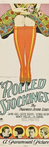 ROLLED STOCKINGS, bottom from left: James Hall, Louise Brooks, Richard Arlen, Nancy Phillips, 1927. Kunstdruck